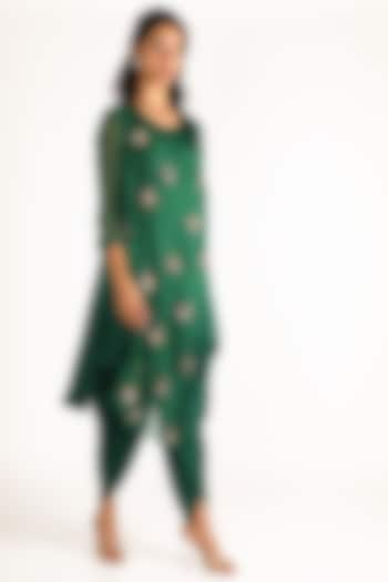 Emerald Green Embroidered Kurta With Dhoti Pants by Aneekha Designs