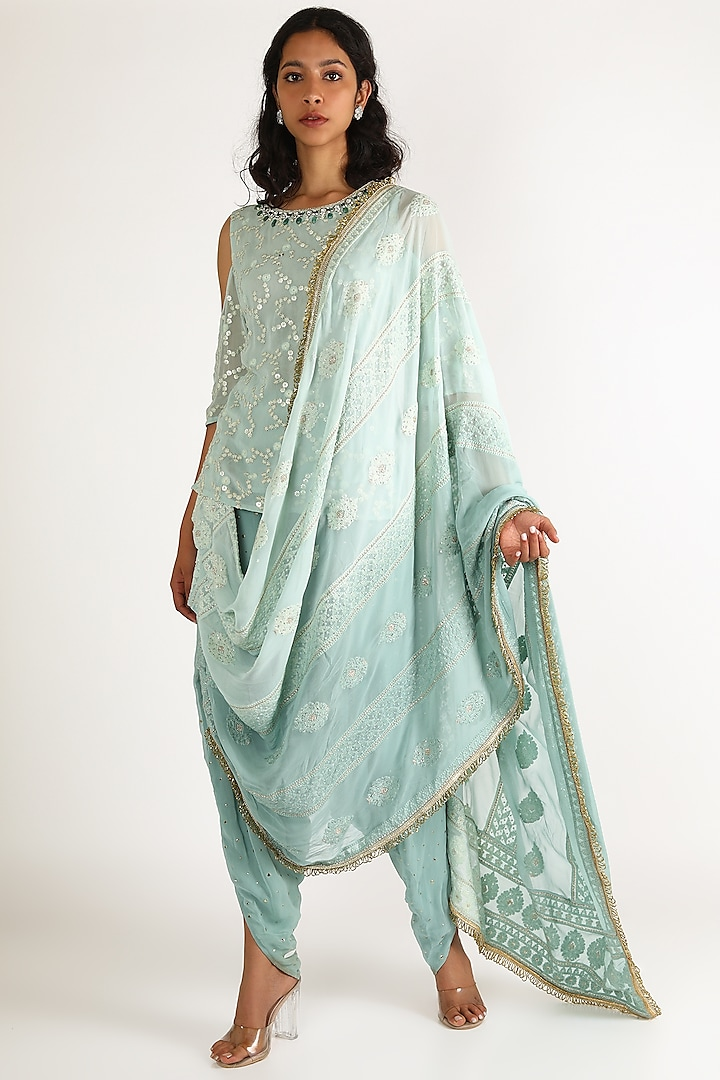 Sky Blue Embroidered Kurta With Dhoti Pants by Aneekha Designs