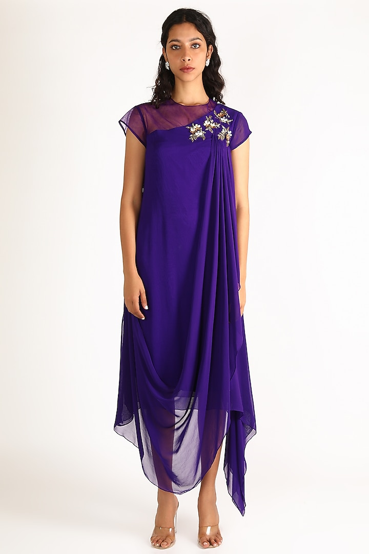 Purple Sequins Embroidered Dress by Aneekha Designs