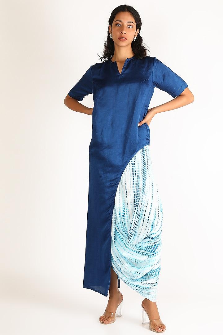 Indigo Blue Tie & Dye Skirt Set by Aneekha Designs