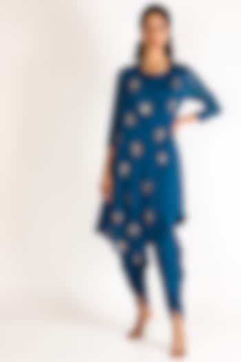 Cobalt Blue Embroidered Kurta Set by Aneekha Designs