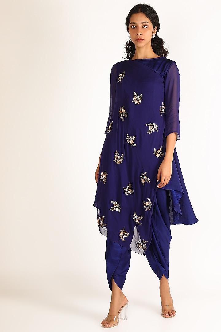 Ink Blue Embroidered Kurta Set by Aneekha Designs