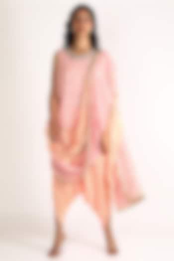 Peach Embroidered Kurta Set by Aneekha Designs