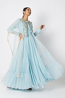 Sky Blue Embroidered Jacket With Inner & Dupatta by Aksh