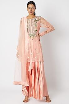Blush Pink Mirror Embroidered Kurta Set by Aksh
