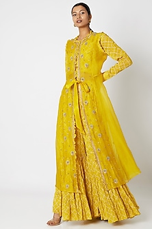 Yellow Embroidered Sharara Set by Aksh