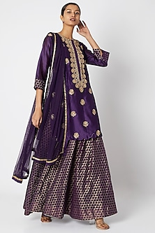 Purple Embroidered Kurta Set by Aksh
