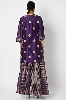 Purple Embroidered Kurta Set by Aksh