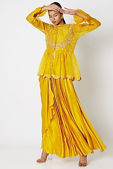 Yellow Embroidered Peplum Top With Inner & Skirt by Aksh