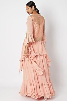 Blush Pink Sequins Embroidered Jacket Set by Aksh