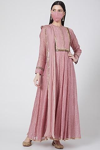 Blush Pink Printed Kalidar Kurta Set by Aksh