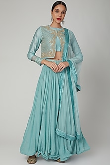 Turquoise Embroidered Lehenga Set by Aksh-POPULAR PRODUCTS AT STORE