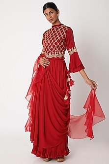 Red Embroidered Draped Skirt Set by Aksh