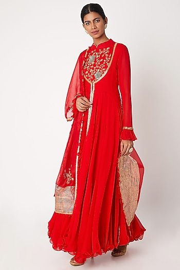 Red Embroidered Anarkali With Jacket & Dupatta by Aksh