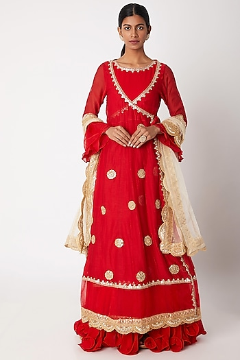 Red Embroidered Anarkali With Angrakha & Dupatta by Aksh
