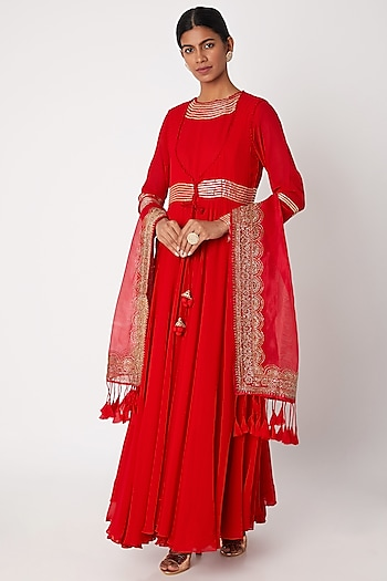 Red Zardosi Embroidered Anarkali With Jacket & Dupatta by Aksh