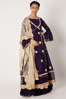 Purple Embroidered Anarkali With Angrakha & Dupatta by Aksh