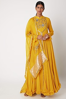 Mustard Yellow Embroidered Anarkali With Jacket & Dupatta by Aksh