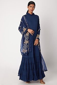 Blue Embroidered Anarkali With Dupatta by Aksh