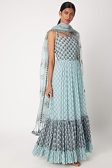 Sky Blue Ruffled Printed Anarkali With Dupatta by Aksh