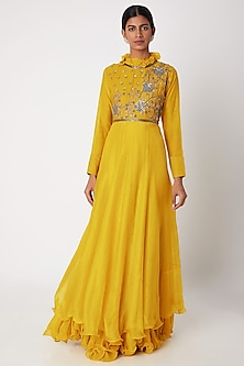 Mustard Yellow Embroidered Anarkali by Aksh