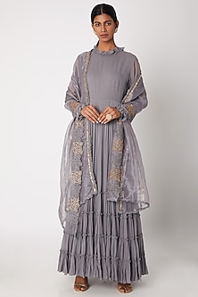 Grey Embroidered Layered Anarkali With Dupatta by Aksh