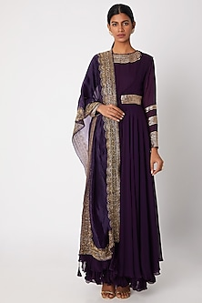 Purple Embroidered Anarkali With Jacket & Dupatta by Aksh