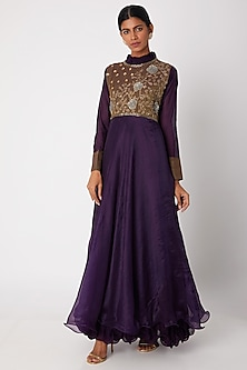 Purple Embroidered Layered Anarkali by Aksh
