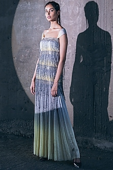 Lemon Yellow & Grey Embroidered Dress by Akhl-AKHL