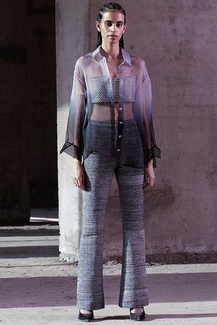 Grey Gradient Dyed Shirt by Akhl