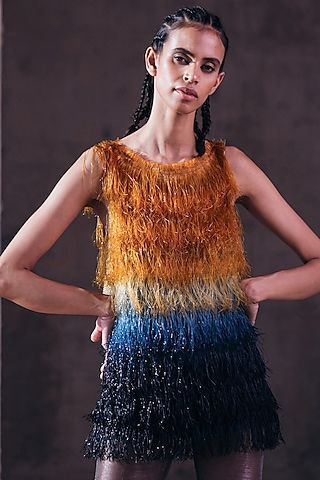 Gold & Indigo Blue Hand Embroidered Top by Akhl