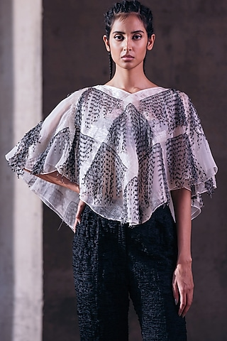 Ivory Hand Embroidered Poncho Top by Akhl