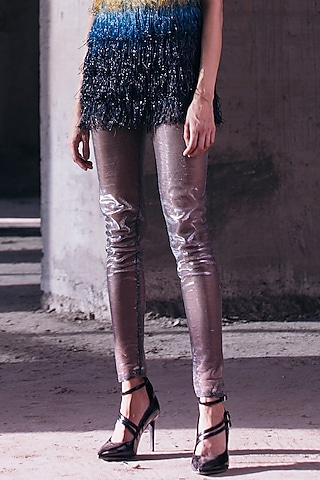 Silver High Waisted Trousers by Akhl