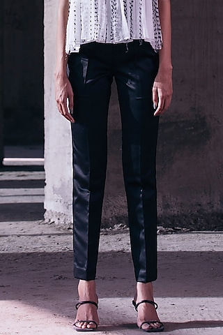 Black Ankle Length Trousers by Akhl