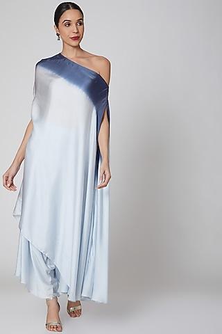 Powder Blue High-Low Pant Set by Amrita KM