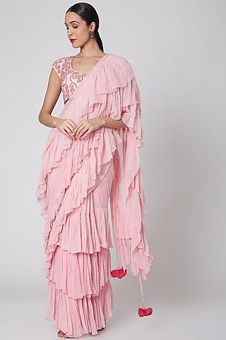 Blush Pink Embroidered Ruffled Saree Set by Amrita KM