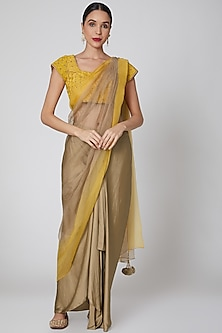 Yellow & Gold Pre Draped Embroidered Saree Set by Amrita KM