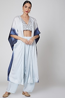 Powder Blue Embroidered Cape Set by Amrita KM