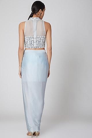 Powder Blue Embroidered Skirt Set by Amrita KM