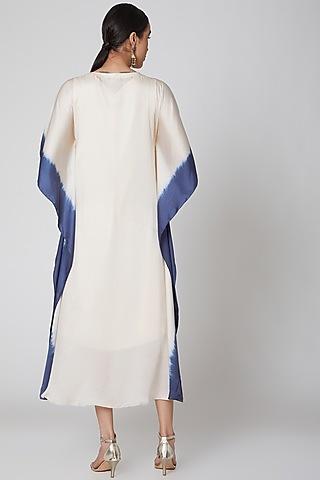 Cream & Navy Blue Kaftan With Tassels by Amrita KM
