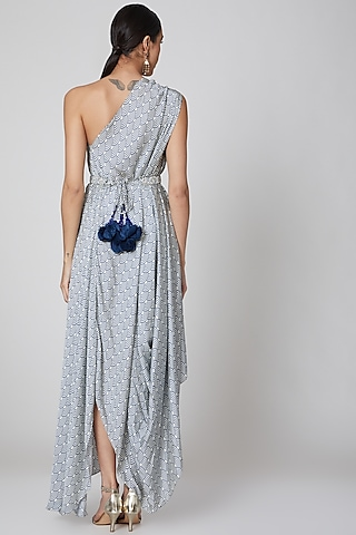 Powder Blue One Shoulder Draped Dress by Amrita KM