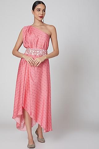 Blush Pink One Shoulder Draped Dress by Amrita KM