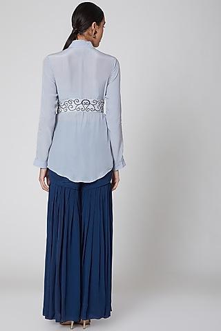 Sky Blue & Navy Embroidered Sharara Set by Amrita KM