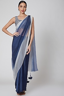 Navy Blue & White Embroidered Pre-Draped Saree Set by Amrita KM