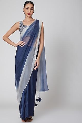 Navy Blue & White Embroidered Pre-Draped Saree Set by Amrita KM