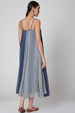 Cobalt Blue Printed Summer Dress by Amrita KM