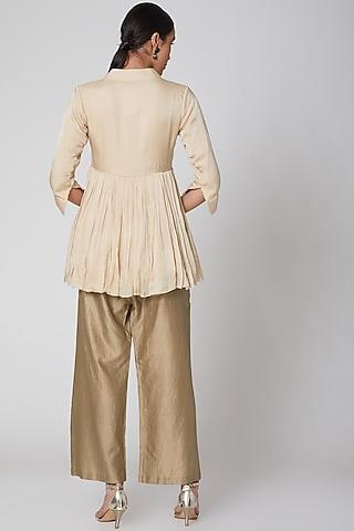 Beige & Gold Straight Pant Set by Amrita KM