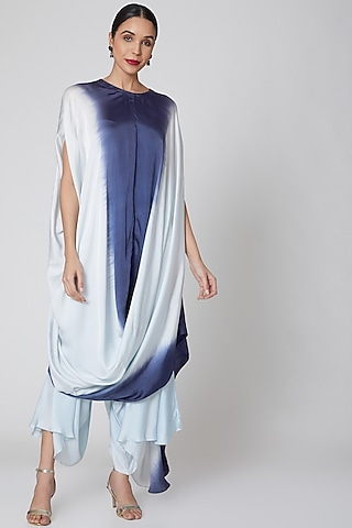 Sky Blue & Navy High-Low Pant Set by Amrita KM
