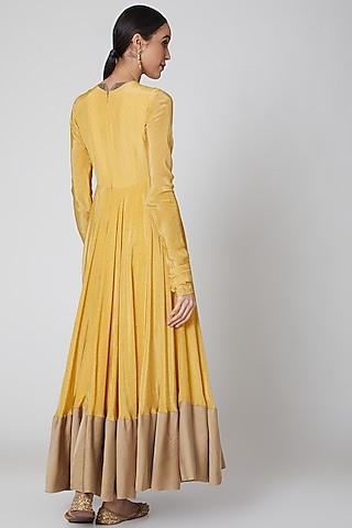 Yellow & Gold Printed Anarkali Set by Amrita KM