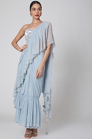 Sky Blue Pre Stitched Ruffled Saree Set by Amrita KM